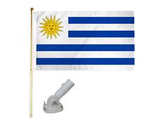 New listing 5' Wood Flag Pole Kit W/ Nylon White Bracket 3x5 Uruguay Country Polyester Flag