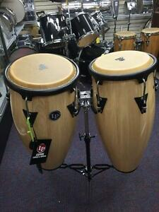 LP Aspire Conga Drum Set-LPA 647 Natural Wood with Stand-New Store Display!