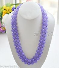 "Gemstone Beads Necklace 36""Long Aaa fashion Natural 10mm Lavender Jade Round"