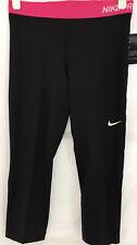 Nike Pro Womens Crop Training Leggings Black/Pink Size XL U.K. 14-16