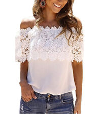 Women Fashion Lace Off Shoulder Summer T-Shirt Short Sleeve Beach Blouse Tops