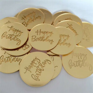 5/10X Happy Birthday Acrylic Cupcake Disc Toppers Gold Party Cake Celebration