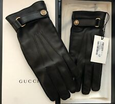 Authentic NWT Gucci Leather Gloves FW19 Black / Gold - Size 9
