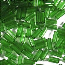 Perles de Rocailles Tubes en verre Transparent 4x2mm Vert foncé 20g