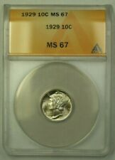 1929 Silver Mercury Dime 10c ANACS MS-67 (WW)