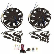 """2Pcs 8"""" Universal 12v Pull/Push Car Radiator Engine Cooling Fan & Thermostat Kit"""
