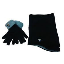 LAZIO ensemble scadacollo+gants bleu en doux e laine polaire chaude hommes