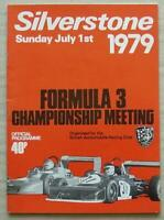 SILVERSTONE 1 Jul 1979 BARC FORMULA 3 CHAMPIONSHIP MEETING Official Programme