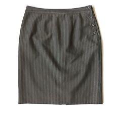 Etcetera 2 Brown/Teal Pinstriped Pencil Skirt Button Detail