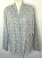 NWT Karen Scott Formal Jacket Size XL Gray Lace Beaded Long Sleeve Wedding