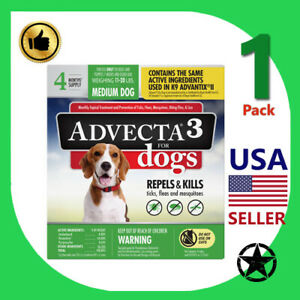 1 Pack Advecta Ultra Flea and Tick Treatment for Medium Dogs, Count of 4