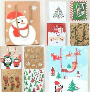 6 Christmas Assorted Size Gift Bags Present Xmas Wrapping Advent Santa