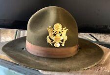 Original Vintage Ww Ii Wool Felt Military Campaign Hat With Metal Badge Lqqk 👀