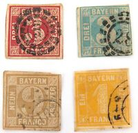 .1849 - 1862 BAYERN BAVARIA, GERMANY. 4 x IMPERF. USED HINGED STAMPS. NICE LOT