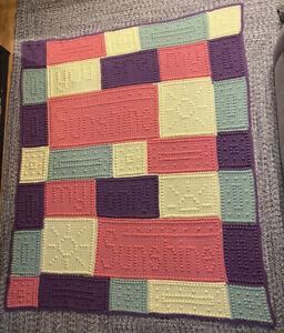 Afghan Handmade Crochet You Are My Sunshine Throw Blanket Bedspread 67 x  57 In