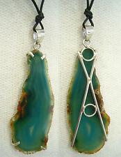 Ciondolo in ARGENTO 925 con AGATA verde e girocollo - pendente pietra dura -