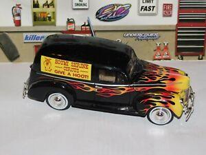 1940 Ford Sedan Delivery Van Die Cast Black W/ Flames #68065 1:24 Scale Custom
