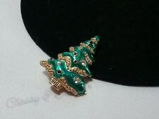 Gold 22K Swan Swarovski Crystal Christmas Tree Green Enamel Garland Brooch Pin