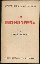In Inghilterra Rebora Piero Società Nazionale Dante Alighieri 1938
