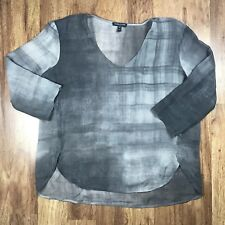 EILEEN FISHER Petite Silk Gray Printed Ombre Blouse Shirt V-Neck Sz PP XS