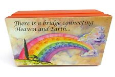 Pet Cremation Urn Rainbow Bridge Poem Medium Dog Cat Ashes Memorial Wood Box