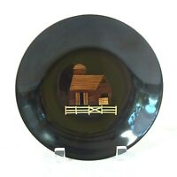 """COUROC MONTEREY Inlaid Brass Wood SHALLOW BOWL 7.75""""D BARN FENCE FARM TAG GLOSSY"""