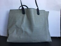 Womens Tommy Hilfiger Striped Navy Blue & White Large Tote Bag