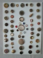 Vintage BUTTON Collection,59 BRASS DESIGNS,On Display CARD