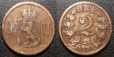 Norvège - Règne suèdois - Oscar II - 2 øre 1884 Kongsberg - KM#353