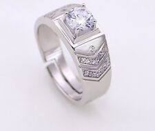 Men Silver Cubic Zirconia Round Engagement Wedding Ring Adjustable Gift Box I31