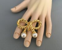 VINTAGE Bow Pin Gold Tone Faux Pearls, Gold Twisted Rope Bow Brooch, Nautical