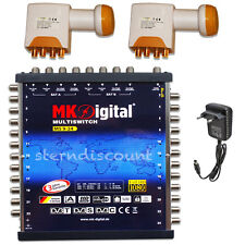 Digital Multischalter 9/24 + 2x Quattro LNB 0,1db SAT HDTV Verteiler 24 Teilnehm