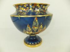 Carlton Ware Blue Fantasia Pedestalled Bowl - flaw on base rim - production ?