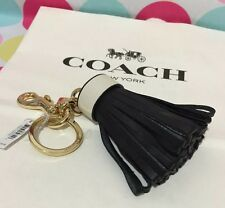 NEW Coach Leather Tassel Bag Charm Key Fob in Black/White F58505 $70