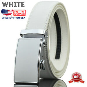 Men's Leather Golf Dress Belt Adjustable Automatic Buckle Ratchet Belt