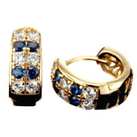 18ct Gold Filled Sapphire Crytral Hoop Huggie Earrings 1UK00163
