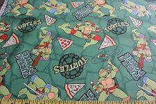 Mutant Ninja Turtles & Pizza Allover Green Cotton Fabric BYT Springs Creative