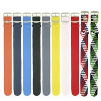 Woven Perlon 20mm Buckle Stripe Watch Strap Wristwatch Band Watchband usef C;DE