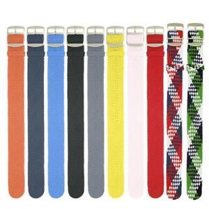 Woven Perlon 20mm Buckle Stripe Watch Strap Wristwatch Band Watchband Valid