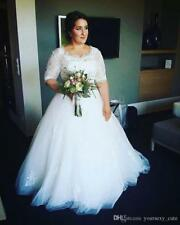 Plus Size Wedding Dresses Half Sleeves Lace Appliques bridal gown Custom Made
