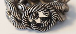 Gucci Sterling Silver Interlocking G Chain Ring Size 10.75