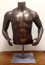 Male Mannequin Torso w/ Hip Arms, Bronze Satin, Steel Base