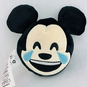 "Disney Store Emoji Plush Mickey Mouse Reversible 5"" Laughing Smile Stuffed LN"