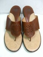 Sofft Womens Flip Flop Sandals w/ heels Size 10 M  Brown Leather  #Y