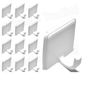 Self Adhesive Hooks White Plastic Strong Sticky Stick on Wall Door Hang 1,3,6,12