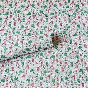 A4 Christmas Red and Green Elf Glitter Fabric Sheet, for hair bow making, crafts