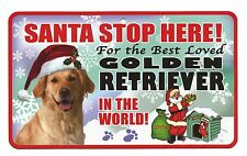 From Santa Stop Here Pet Sign - Golden Retriever Laminated Cardboard