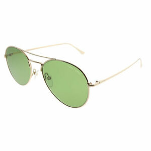 Tom Ford Ace TF 551 28N Shiny Rose Gold Metal Sunglasses Green Lens