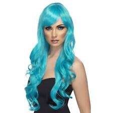 AQUA DESIRE WIG LADIES HALLOWEEN FANCY DRESS WIG LONG CURLY BLUE GLAMOUR WIG