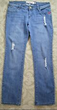 Ecko Red Straight Leg Distressed Blue Jeans Juniors Womens size 7/8